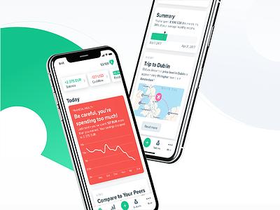 Future of Spendee (Sneak Peek) assistant ai colours cards analytics finance ui ios app minimal flat