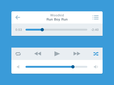 Flat Music Player (iOS) music player ios minimal flat simple blue bar navigation
