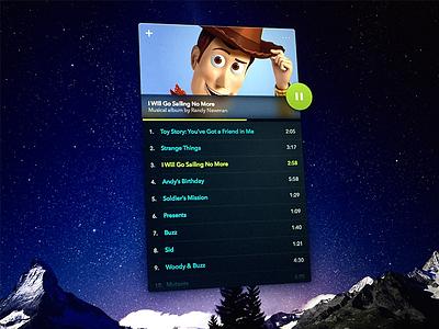 Daily UI: Day 9 - Music Player disney midi mp3 player music woody toy story ui dailyui