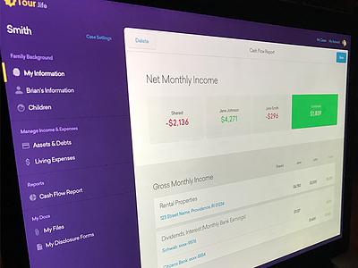unused design gold purple report net worth financials web app divorce