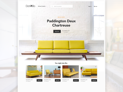 Dot & Bo - Redeux landing page home page shop couch ecommerce furniture modern mid-century