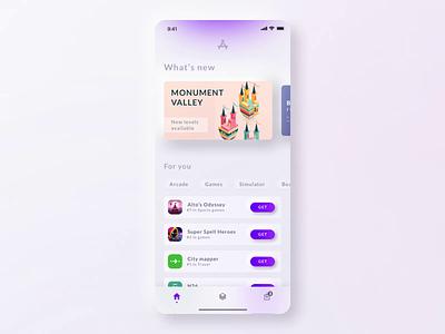 App store concept V2 soft shop skeumorphism prototype store app store game app design minimal gradient modern concept ux ui