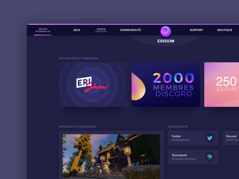 Erisium new website - Home article play navbar social blog home webdesign dark ui purple erisium minecraft gaming game dark mode dark minimal gradient modern