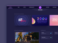 Erisium new website - Home article play navbar social blog home webdesign dark ui purple erisium minecraft gaming game dark mode dark minimal gradient modern