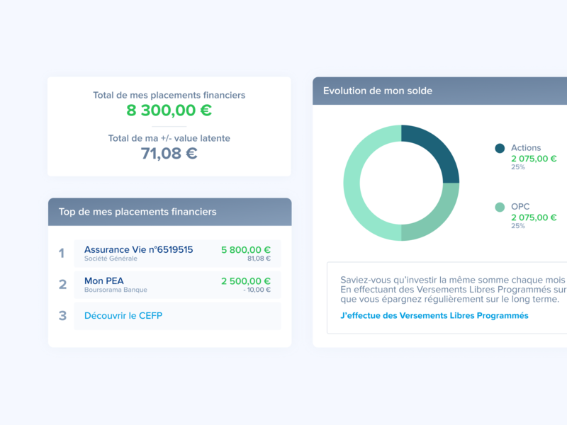Finance manager boursorama banque bank dataviz data pfm dashboard management saving money manager finance minimal webdesign modern ux ui