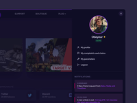 Erisium new website - profile panel picture rank notification drawer menu side menu sidebar panel profile dark mode dark modern gradient minimal ux ui