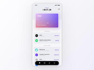 Refined banking prototype animated banking bank card creditcard budget dataviz balance expenses finance fintech money app gradient minimal modern concept ux ui