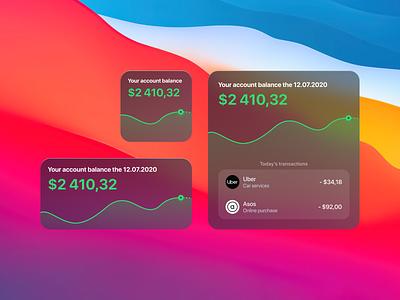 Banking Widgets transaction dataviz transparent wallet account balance glassmorphism glass macos ios widget app bank banking
