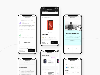 Product page e-commerce - Back Market minimal modern sale iphone device electronic shop product product page mobile e-commerce ux