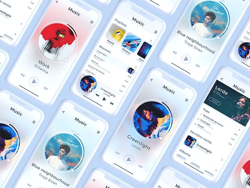 Music App UI concept presentation ios x iphone sound music play player ux ui concept app