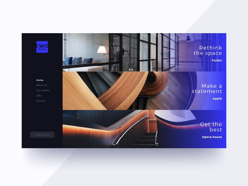 Interior Design Studio Concept design interior blue website webdesign ux ui modern minimal dark concept