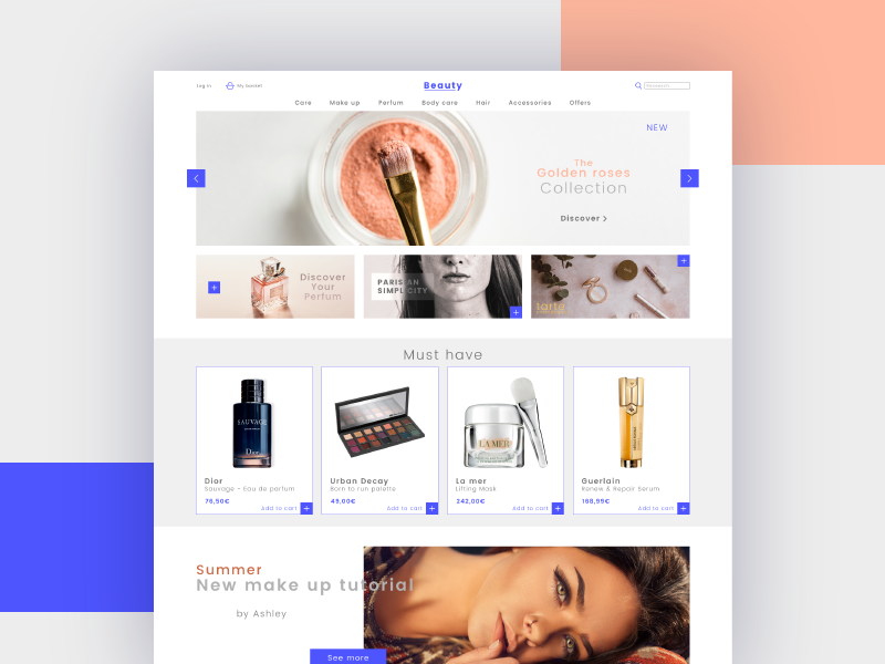 Beauty Store Concept typography website minimal site modern concept makeup ux ui shop ecommerce webdesign design web store beauty