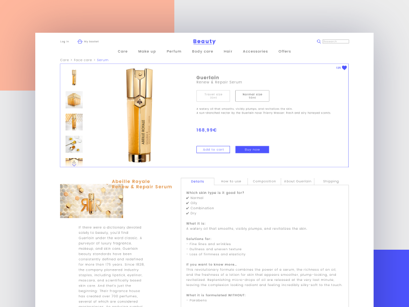 Beauty Store Concept - Product page website webdesign ux ui typografy store site shop modern clean minimal perfum makeup ecommerce design concept beauty