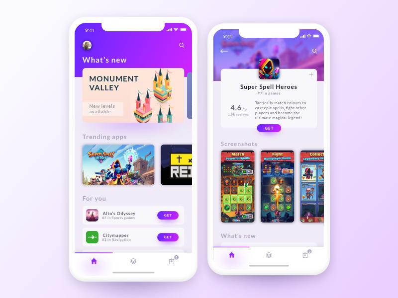 App Store Concept purple shadow download buy application app store shop store vector color artwork app gradient design minimal webdesign modern concept ux ui