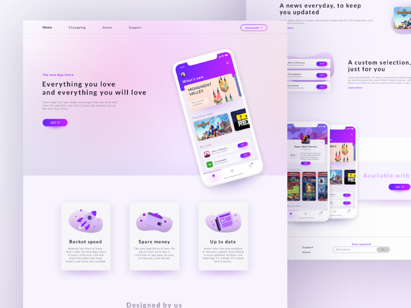 App Store Concept landing page game application typography illustration color ios web icon vector website artwork app minimal gradient design webdesign modern concept ux ui