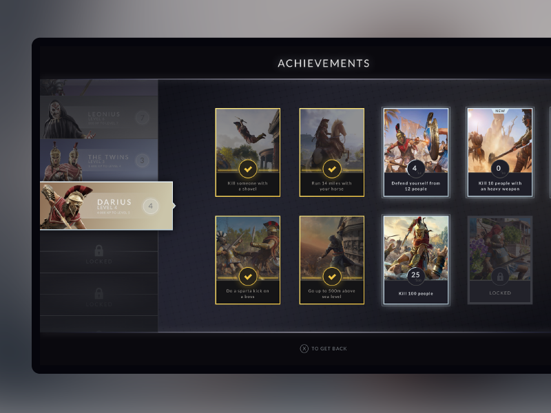 Achievements - Game UI concept gameplay interface dark achievements assassins creed game asset ubisoft app video game game typography artwork gradient design concept ux ui