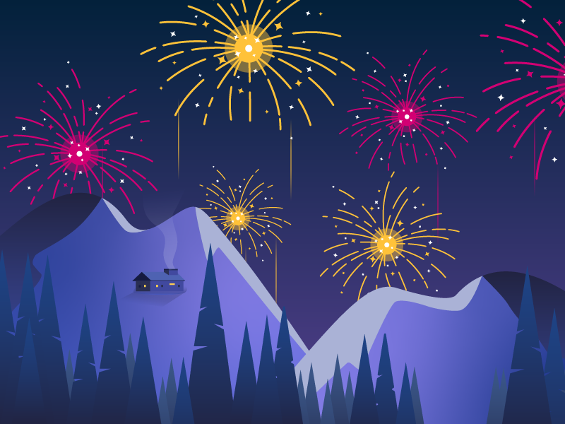 New Year illustration bank landscape night snow 2019 new year happy firework artwork illustration gradient design modern