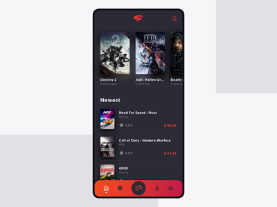 Gaming App - Home page red animation gaming stadia color game dark app minimal modern gradient concept ux ui