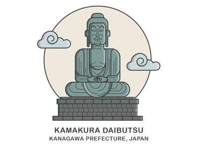 Kamakura Daibutsu - Giant Buddha (Final) buddha vector landmark