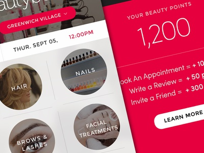 Type & Red/Pink  bright beauty uxui mobile