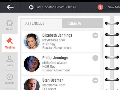 iPad Conference App ipad ios meeting assitant flat blue grey white orange conference