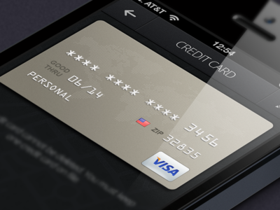 Credit Card dark ui cc credit card pewter ios iphone