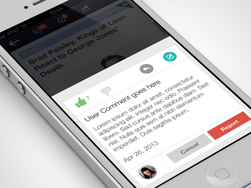 Comment Popup comments flat ios ui iphone