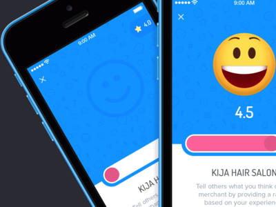 Rate the Merchant (WIP) rating ios smiley blue pink iphone ui design