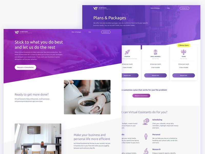 Virtual Essistants Marketing Website is LIVE marketing page website web ui landing illustration dev