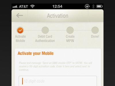 Activation Flow banking activation ui iphone