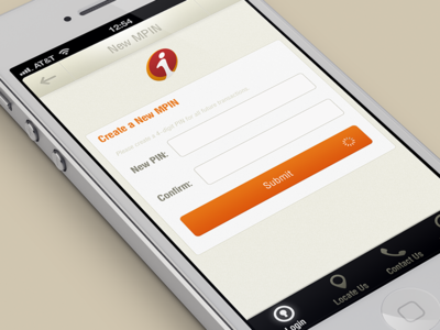 mpin screen iphone ios ui interface banking orange black login