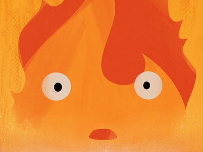 Howl's Moving Castle - Calcifer Minimal Poster Closeup