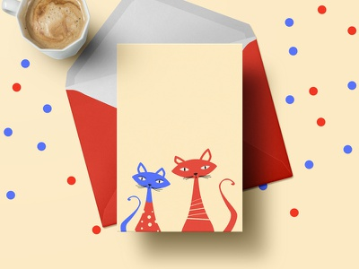 Cats In Sweaters - Christmas Greeting Card vintage flat holidays sweaters cats greeting card christmas vector illustration art