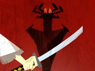 Samurai Jack - Vector Poster Closeup samurai jack aku japan poster minimalist design anime vector illustration art grunge