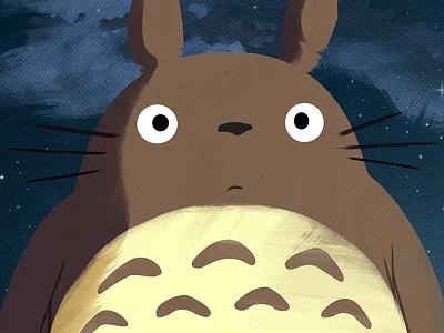 Large Totoro - Poster Closeup art illustration vector anime miyazaki movie poster design minimalist my neighbor totoro japan totoro
