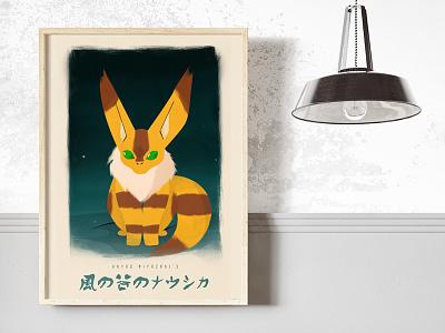 Nausicaä of the Valley of the Wind - Teto Poster valley wind nausicaa squirrel fox japan design movie poster miyazaki anime vector illustration art
