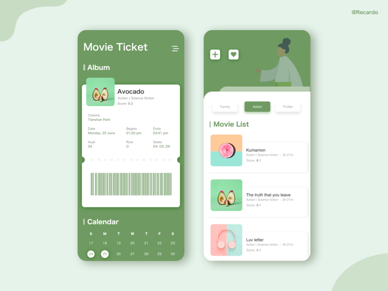 Movie Ticket ui ux illustration website icon web illustrator app graphic typography ux ue design ui