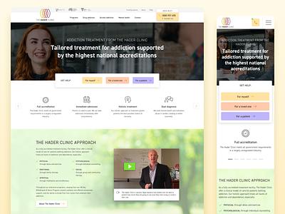 The Hader Clinic warm optimistic website rehab rehabilitation drugs clinic healthcare treatment addiction