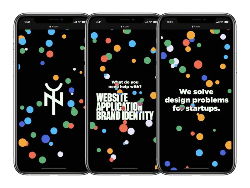 Yes & No Design Studio Homepage dark dark mode geometric homepage web design website design logo iphone screenshots mobile website typography