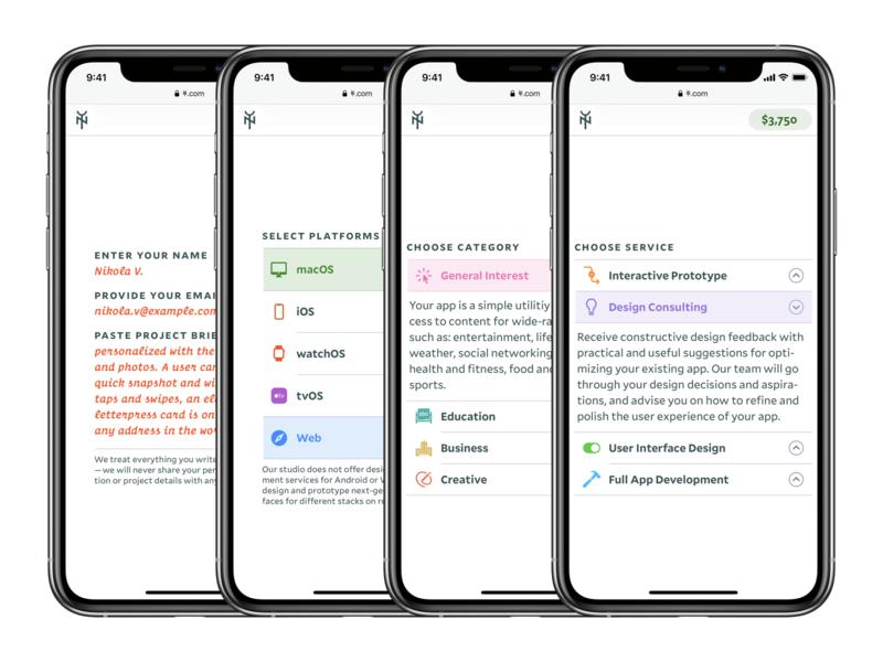 Yes & No Design Studio Order Form iphone screenshots form mobile typography website