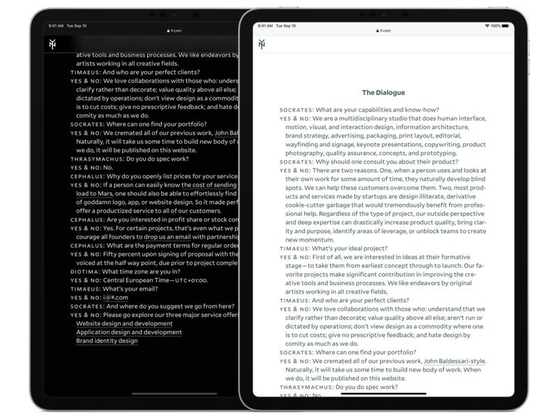 Yes & No Design Studio Q&A dark mode text website design web design screenshot ipad typography website
