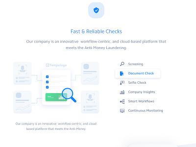 KYC Data Checks cloud anti-money laundering selfie graph analytics insights monitoring screening document workflow crypto wallet big data technology agency illustration blockchain