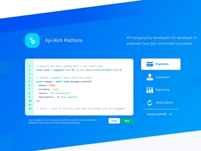 Code Snippet UI reporting payments saas landing page design api snippets big data technology agency blockchain illustration creative