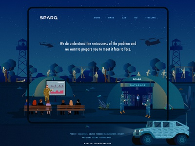 Sparq Storytelling Landing Page underground website design night military graph control room business bad guy big data landing page cryptocurrency blockchain ui technology illustration creative