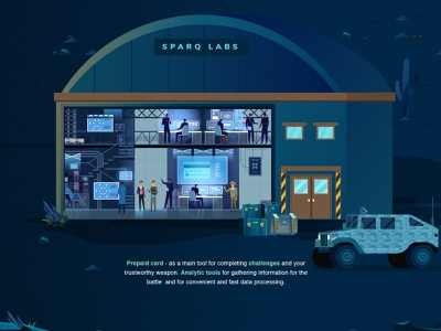 Sparq Storytelling Landing Page - LAB concept 2020 trend goverment workshop credit card business baggage military control room big data agency landing page blockchain cryptocurrency illustration technology creative