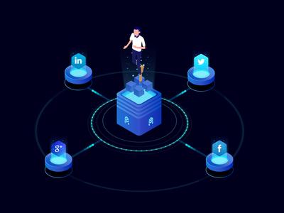 Social Illustration of Block Chain Technology