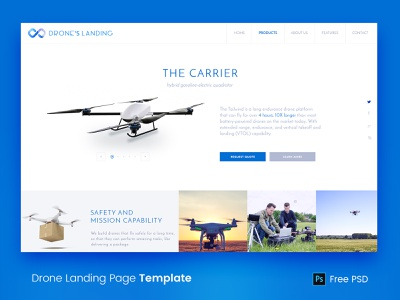Drone Landing Page Mockup psdfy template free psd website design landing page sci-fi camera drone ui agency technology creative