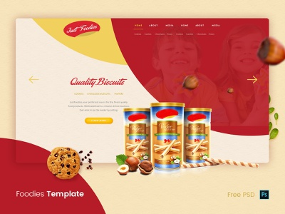 Foodies Web  Template Mockup landing page products page food sweets biscuits cookies packaging chocolate ui  ux website concept design illustration creative