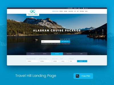 Travel Hill Landing Mockup search bar valley hills hotel tourism cruise train travel creative