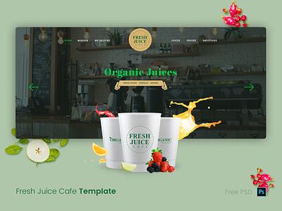 Fresh Juice Mockup farm food organic psdfy webdesign restuarant media fruit juice cafe ui colorfull illustration technology creative